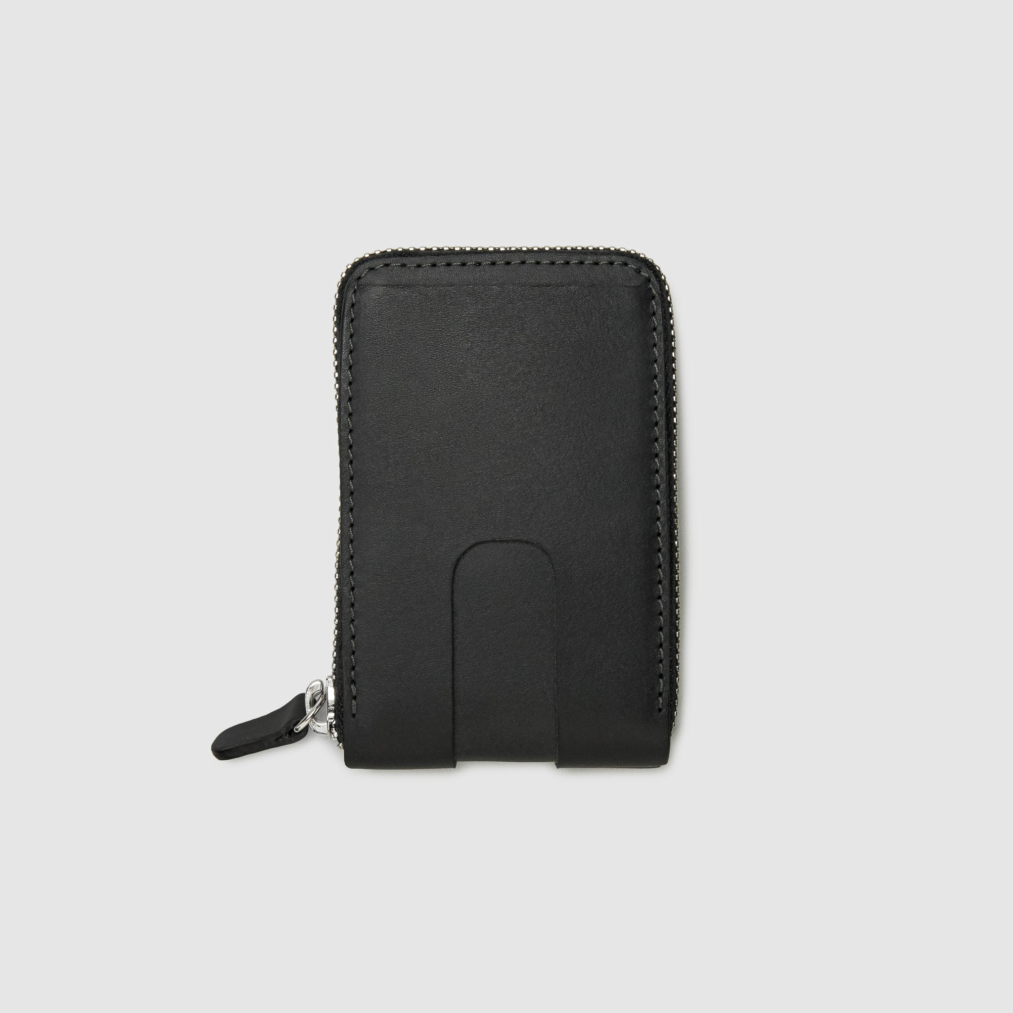 Anson Calder zip-around Wallet with zipper and pockets RFID french calfskin leather _black