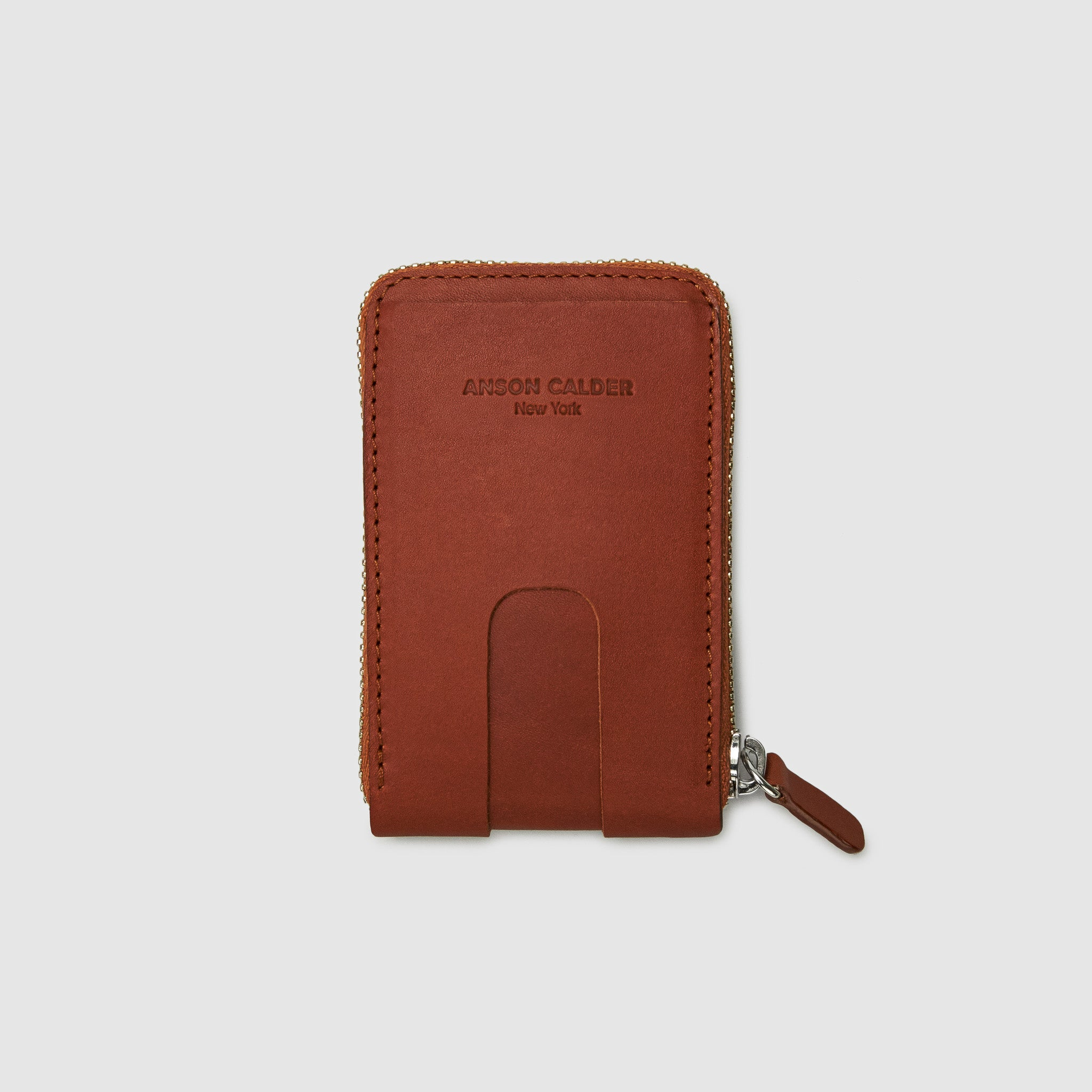 Anson Calder zip-around Wallet with zipper and pockets RFID french calfskin leather _cognac