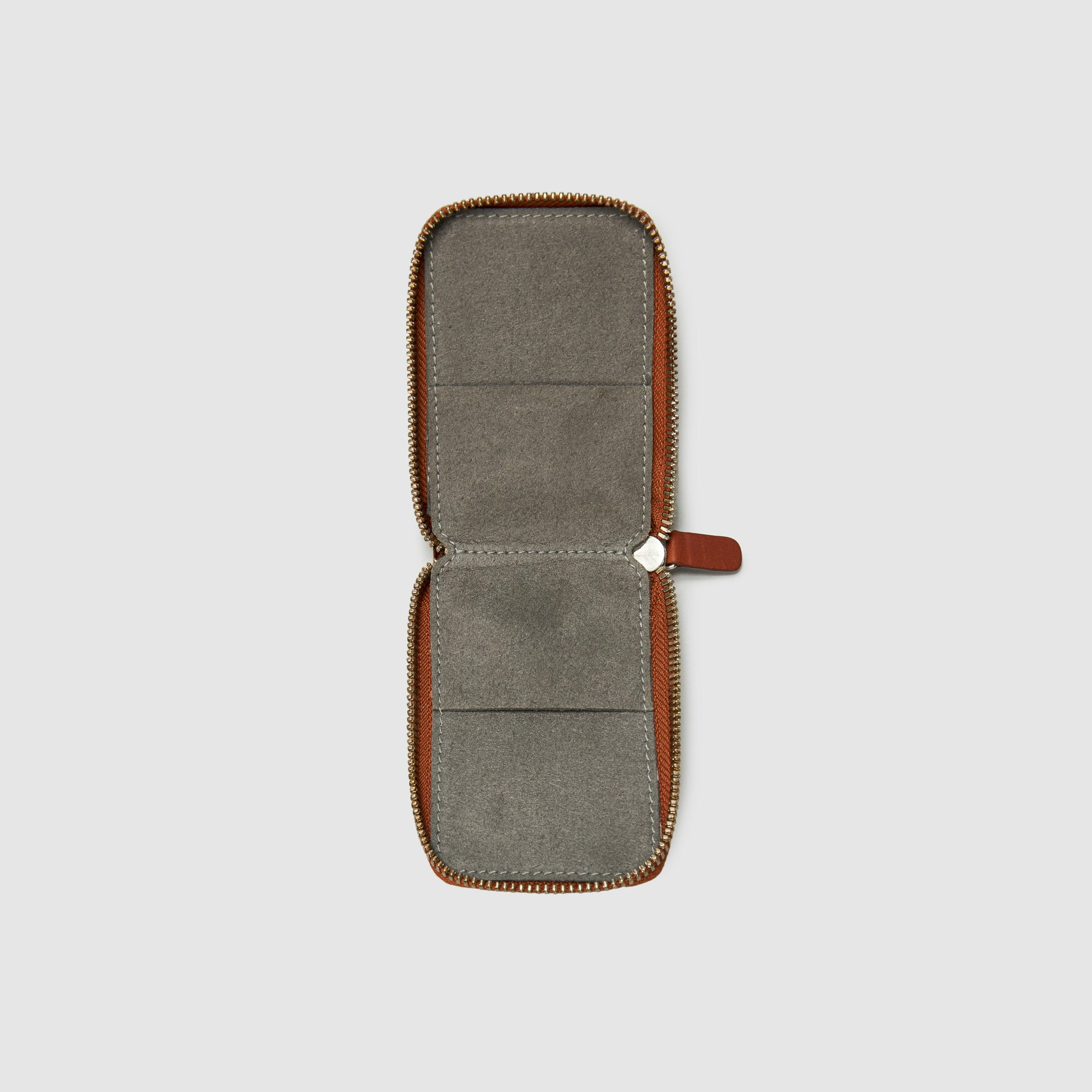 Anson Calder zip-around Wallet with zipper and pockets RFID french calfskin leather *hover _cognac