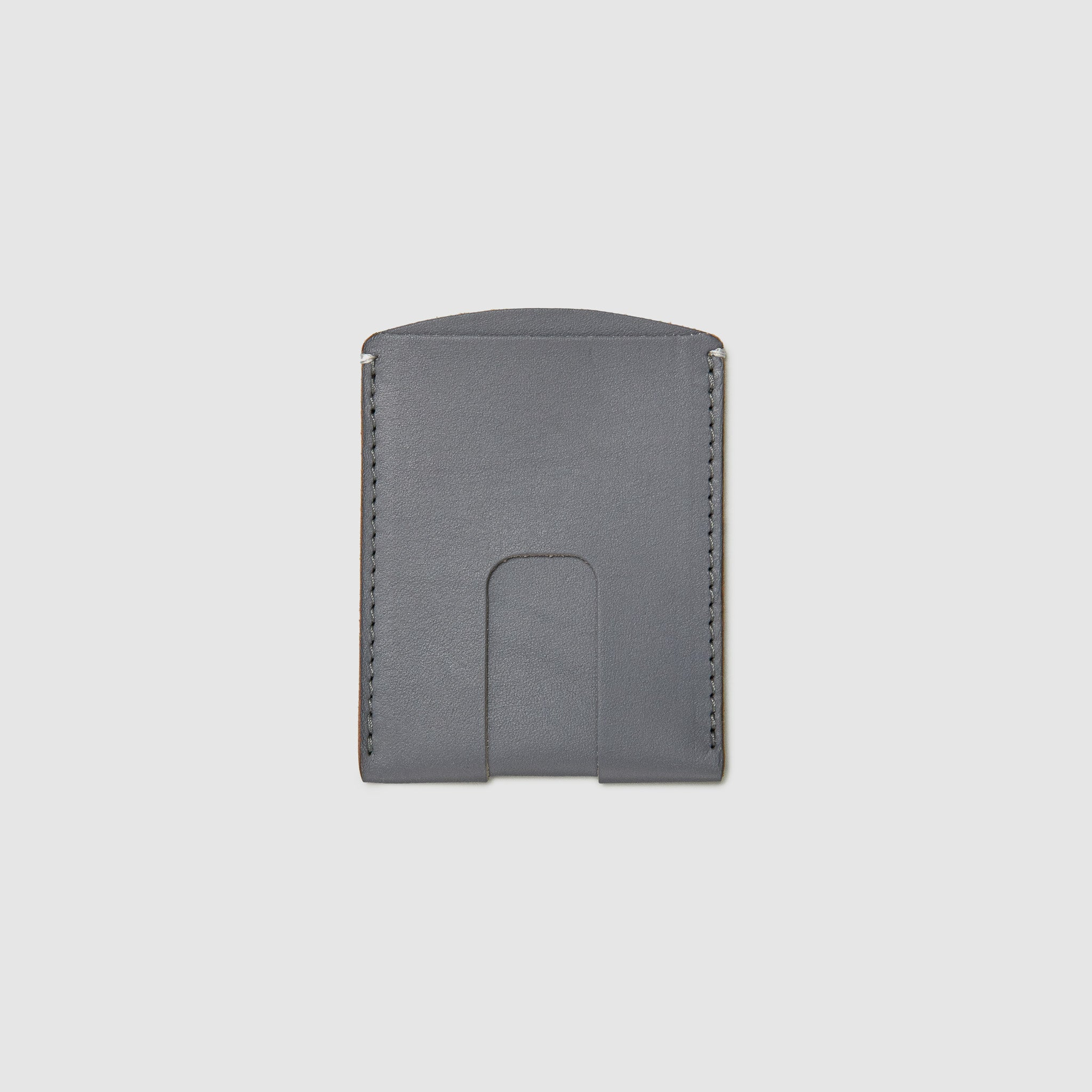Anson Calder Card Holder Wallet french calfskin leather with cash slot _steel-grey