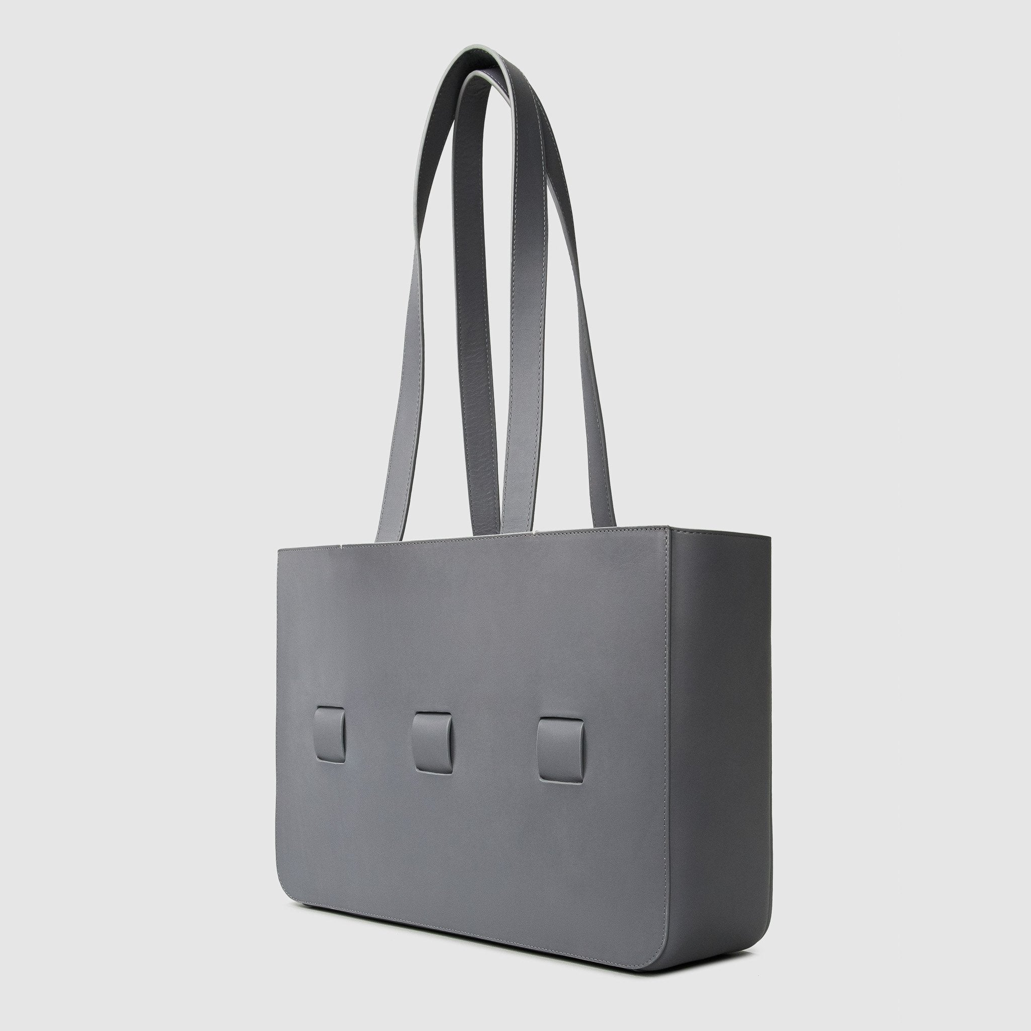 anson calder french calfskin leather tote _steel-grey