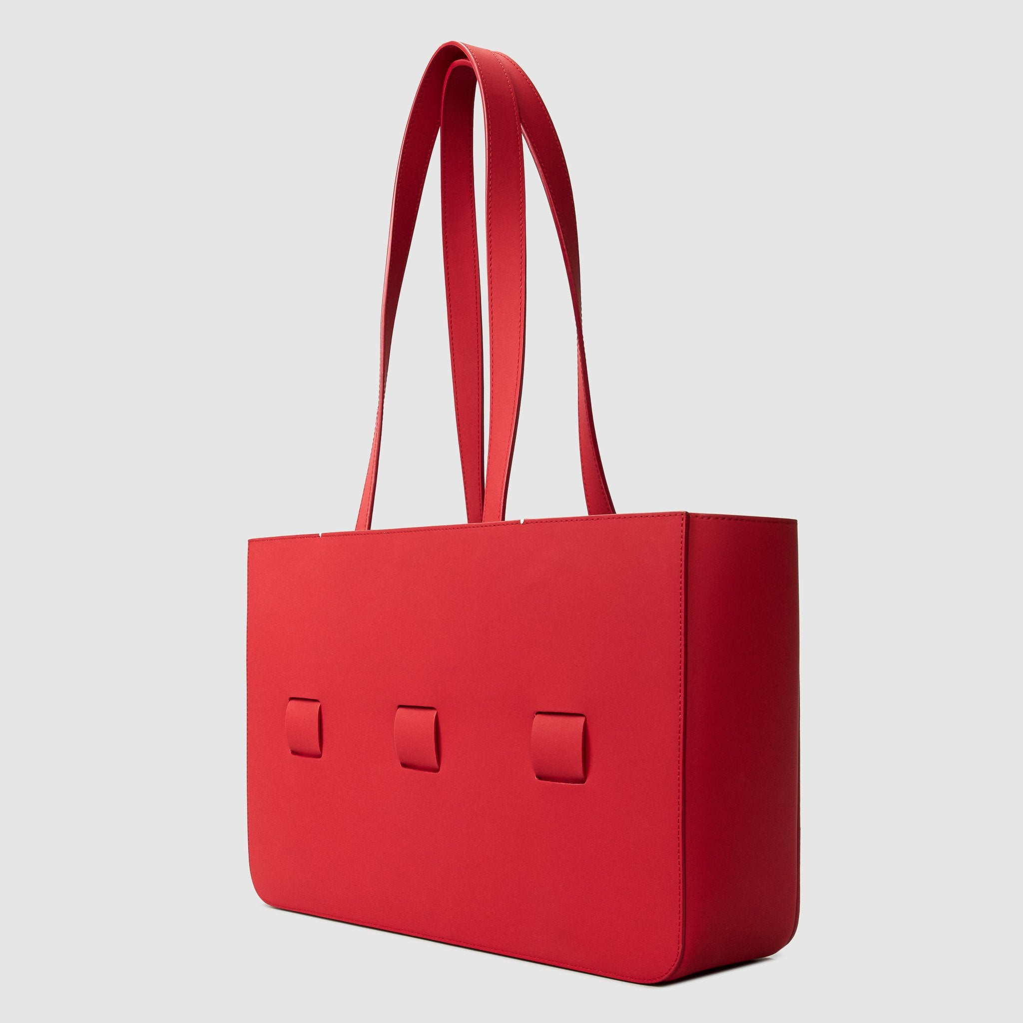 anson calder french calfskin leather tote _sport-red
