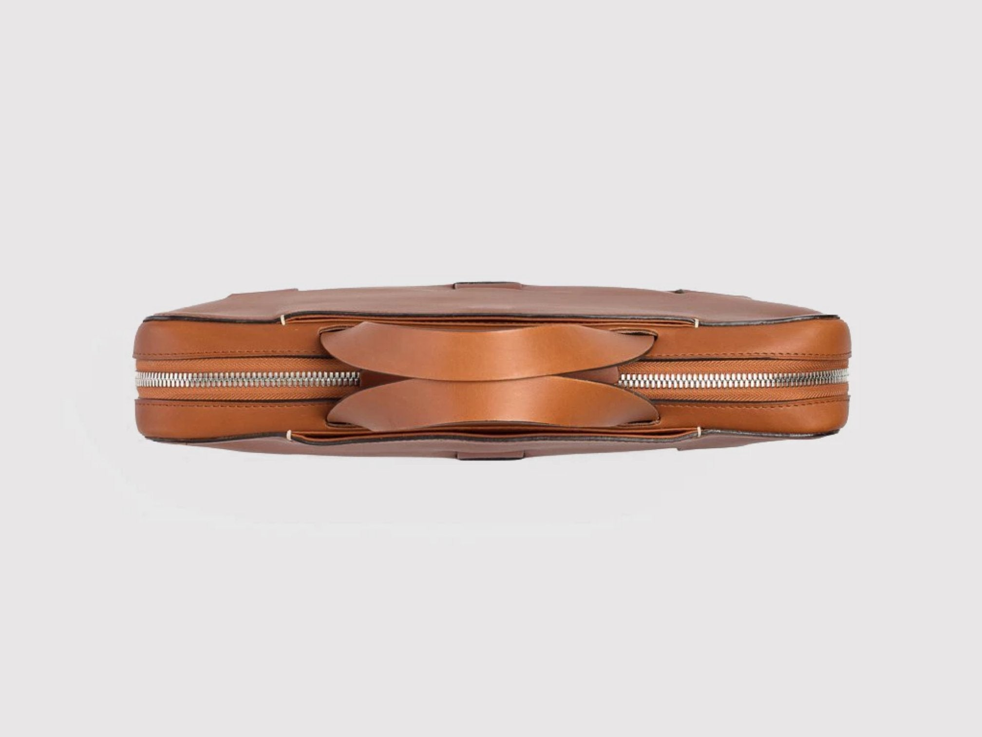anson calder slim brief french calfskin leather _cognac