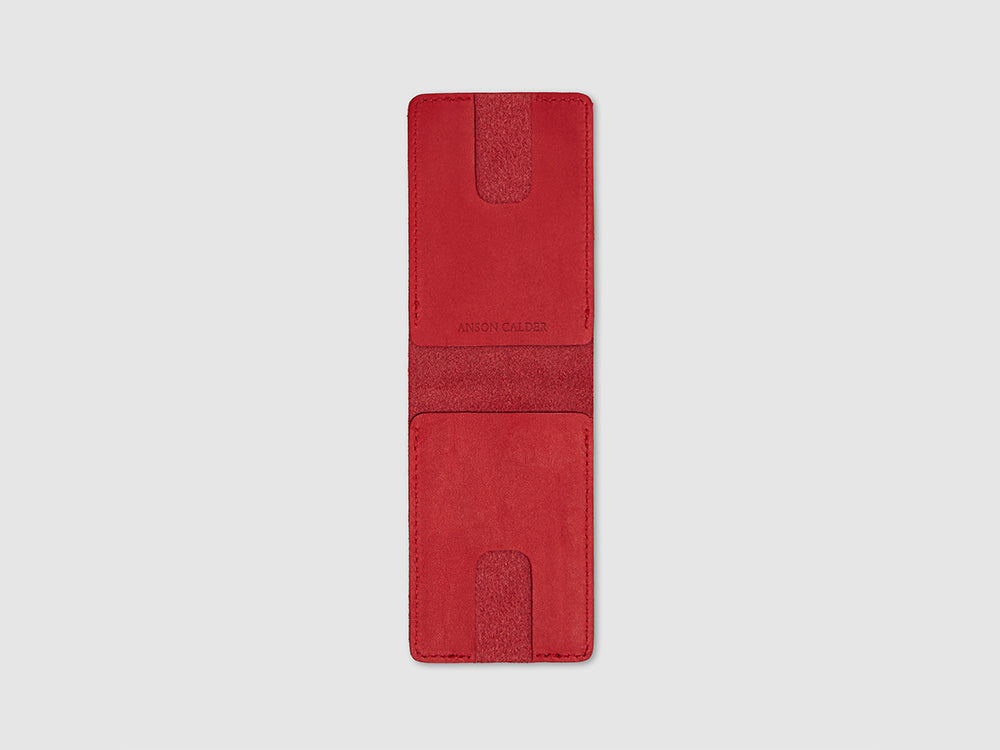 Anson Calder bifold or business card Wallet RFID french calfskin leather _red