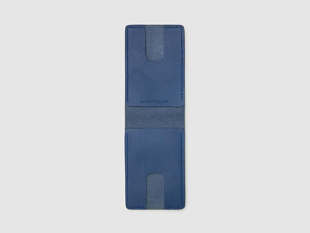 Anson Calder bifold or business card Wallet RFID french calfskin leather _cobalt