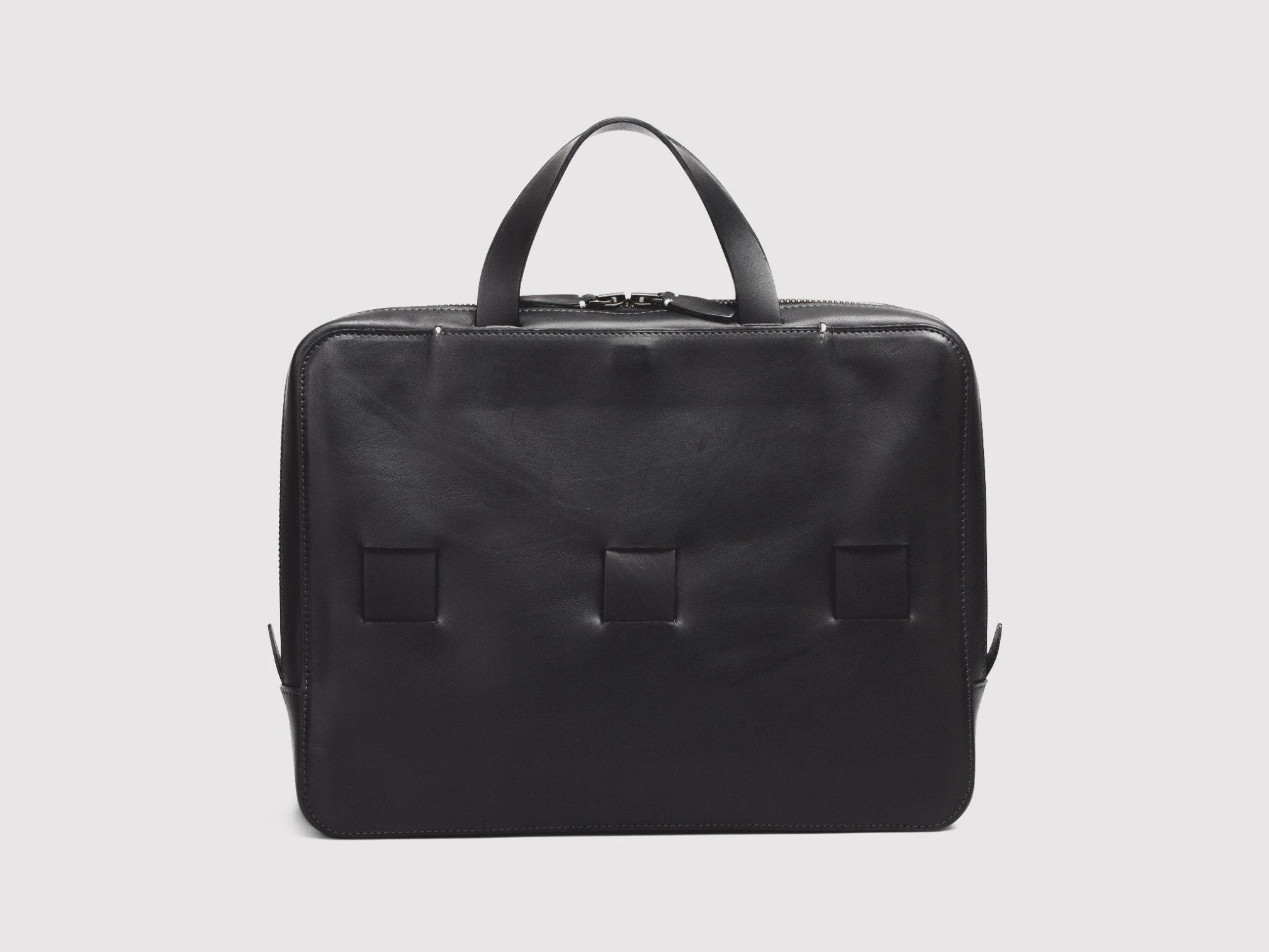 anson calder slim brief french calfskin leather _black