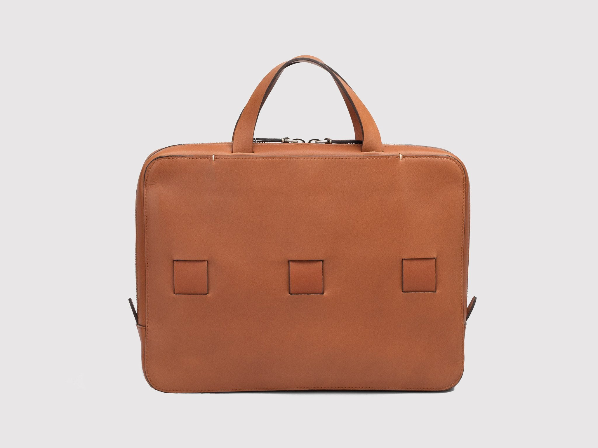 Attache Bags French Calfskin ANSON CALDER _Cognac