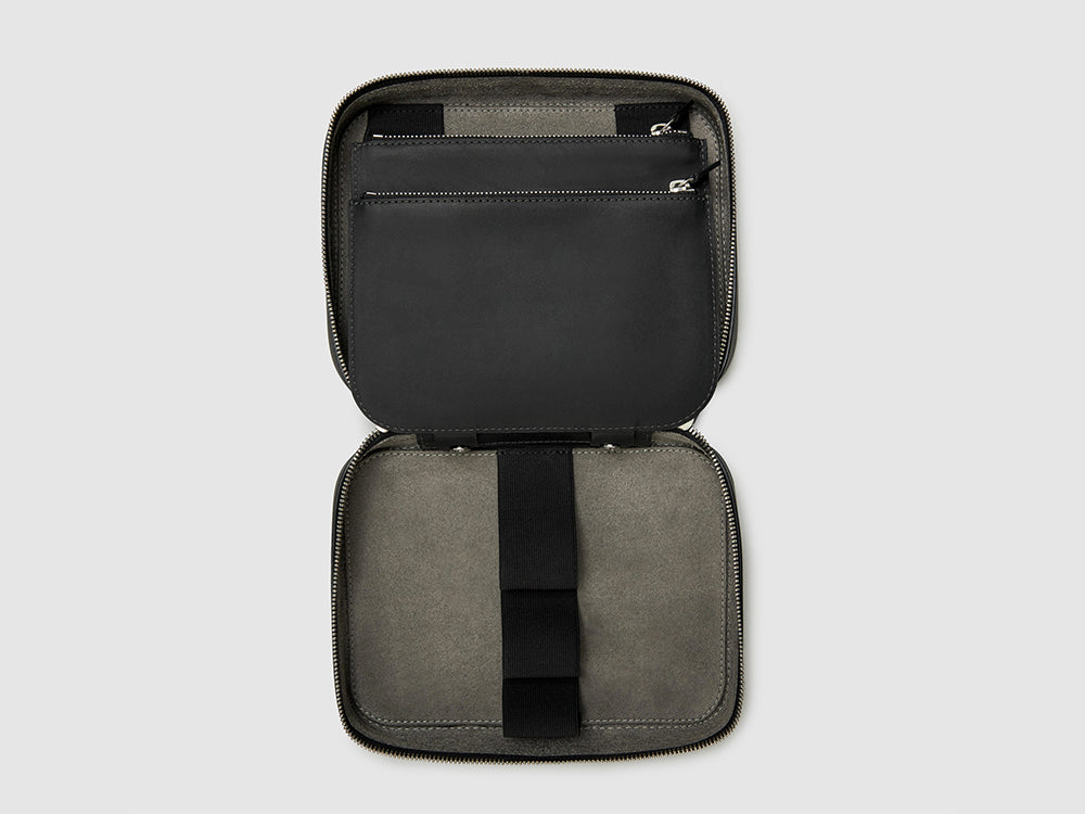 toiletry kit dop case anson calder french calfskin leather _black