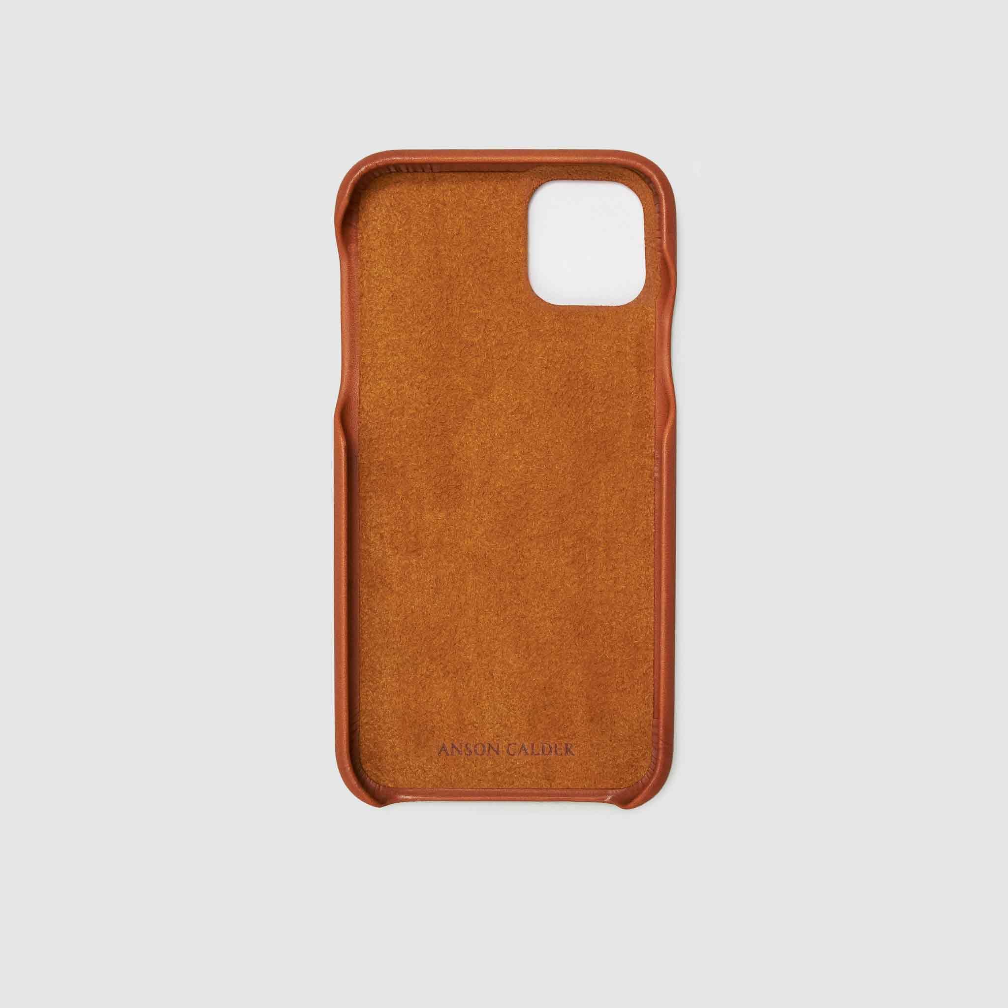 anson calder iphone case french calfskin 11 eleven pro max leather !iphone11pro-iphone11promax  _cognac