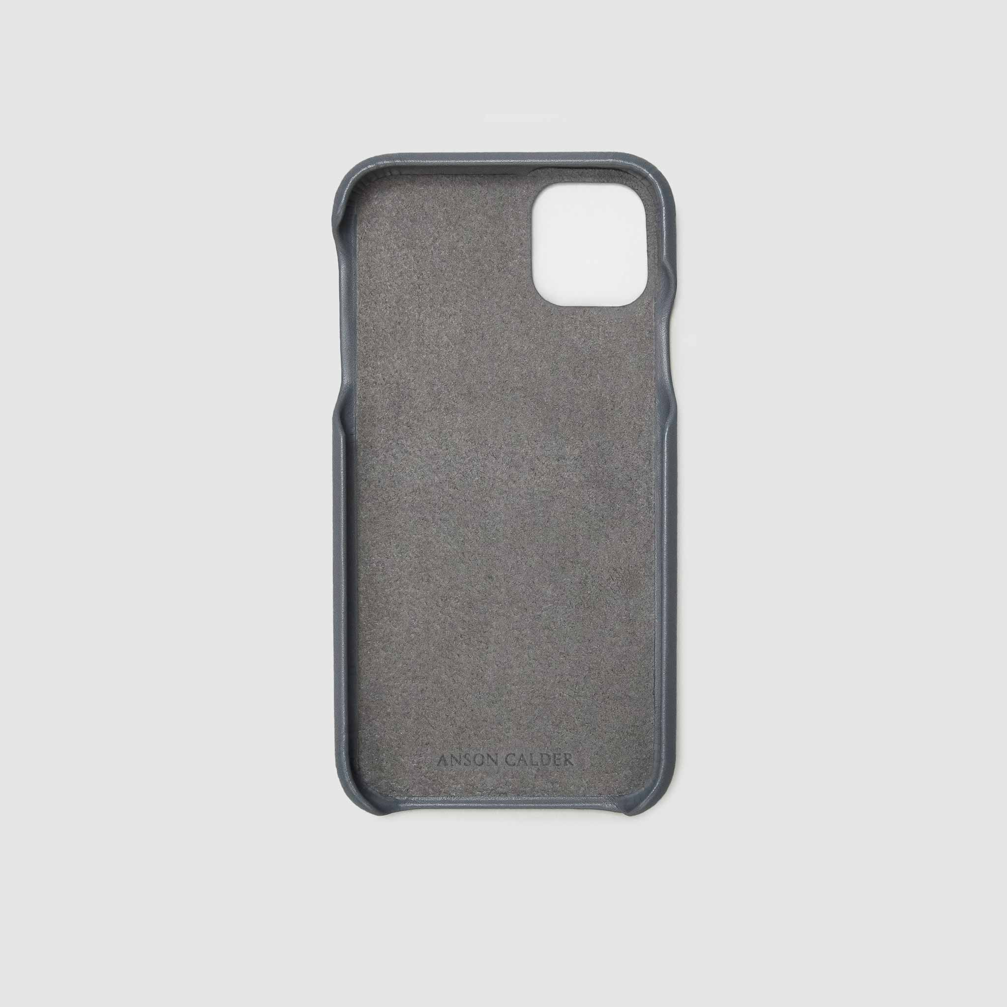 anson calder iphone case french calfskin 11 eleven pro max leather !iphone11pro-iphone11promax  _steel-grey