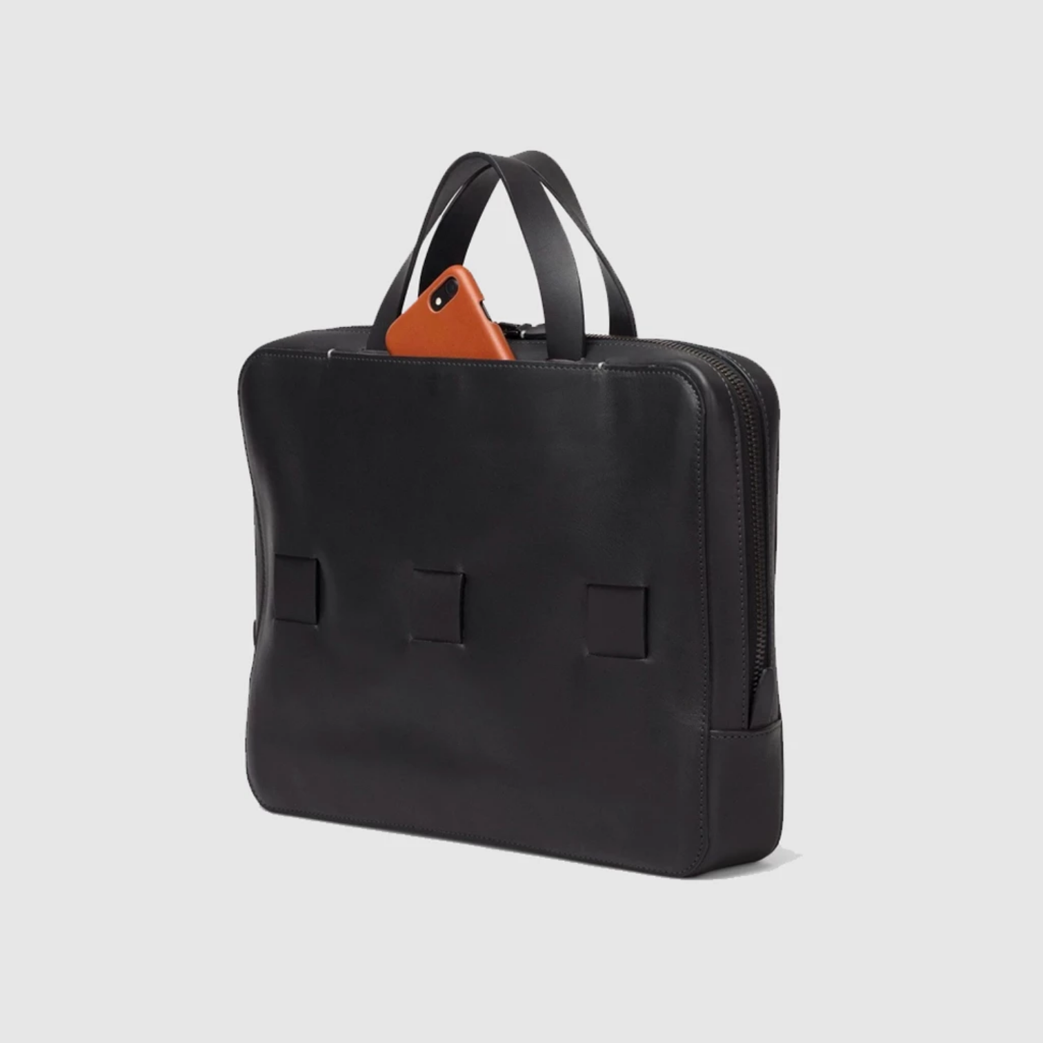 anson calder slim brief black french calfskin _black