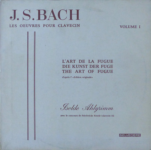 Ahlgrimm: Bach The Art of the Fugue - Belvedere ELY 06 100/101 (2LP set)