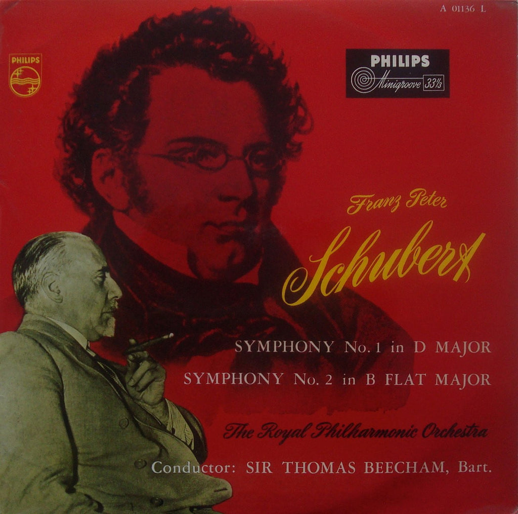 LP - Beecham: Schubert Symphonies Nos. 1 & 2: Philips A 01136 L, Beautiful Cover Art