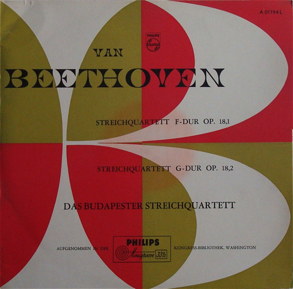 LP - Budapest Quartet: Beethoven String Quartets Op. 18 Nos. 1 & 2 - Philips A 01194 L