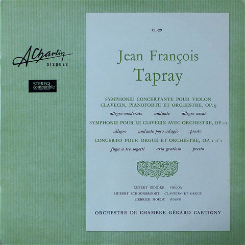 LP - Cartigny: Jean-François Tapray Orchestral Works - A Charlin Disques CL-29