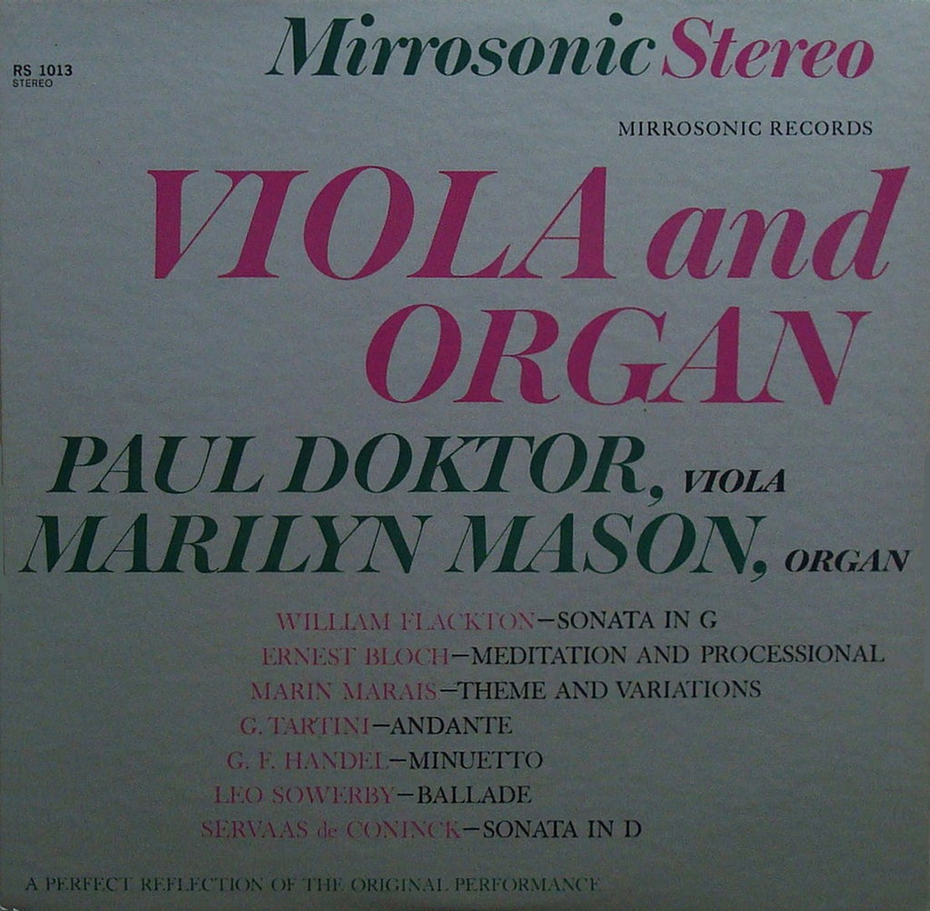 LP - Doktor/Mason: Works For Viola & Organ - Mirrosonic RS 1013, Very Rare