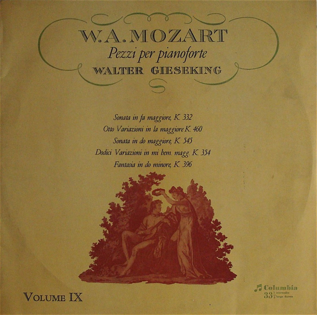 LP - Gieseking: Mozart Vol. IX, Compl Solo Piano Works - Italian Columbia 33QCX 10229