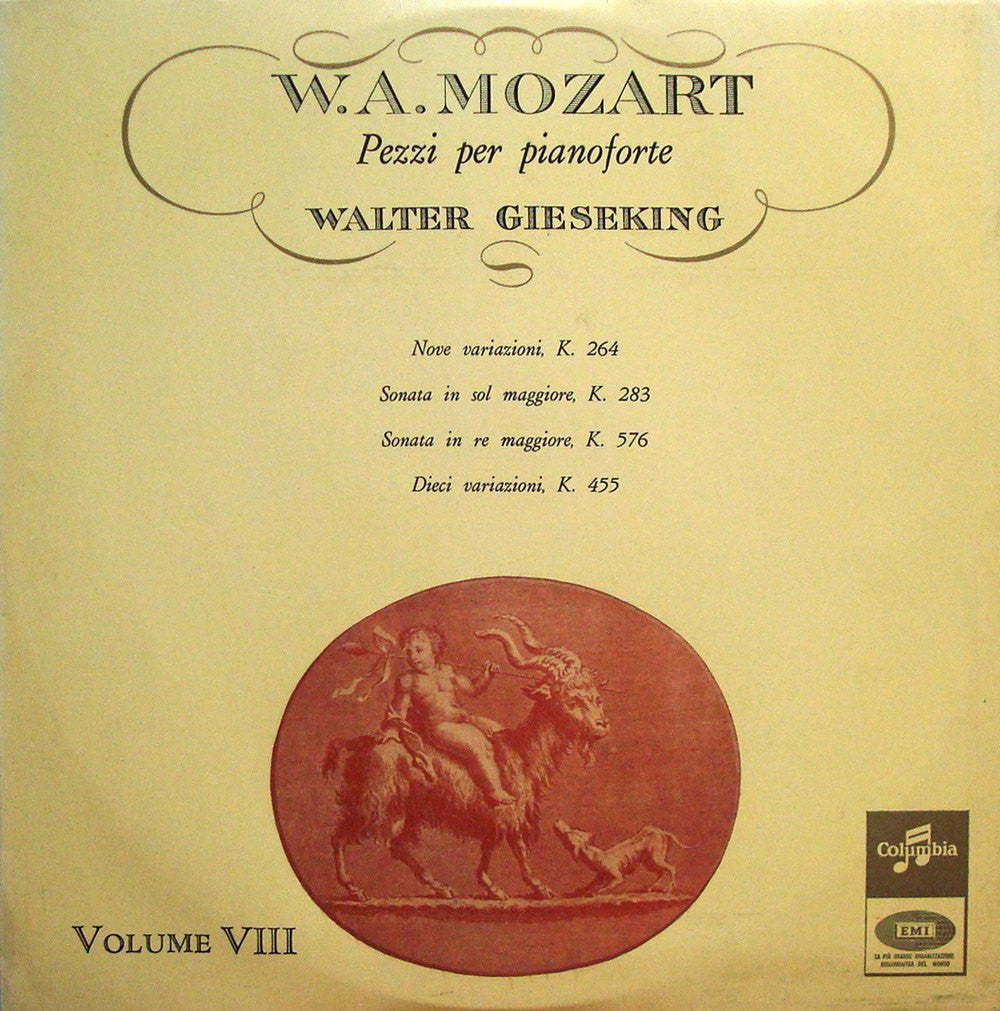 LP - Gieseking: Mozart Solo Piano Music Vol. VIII - Columbia 33 QCX 10208