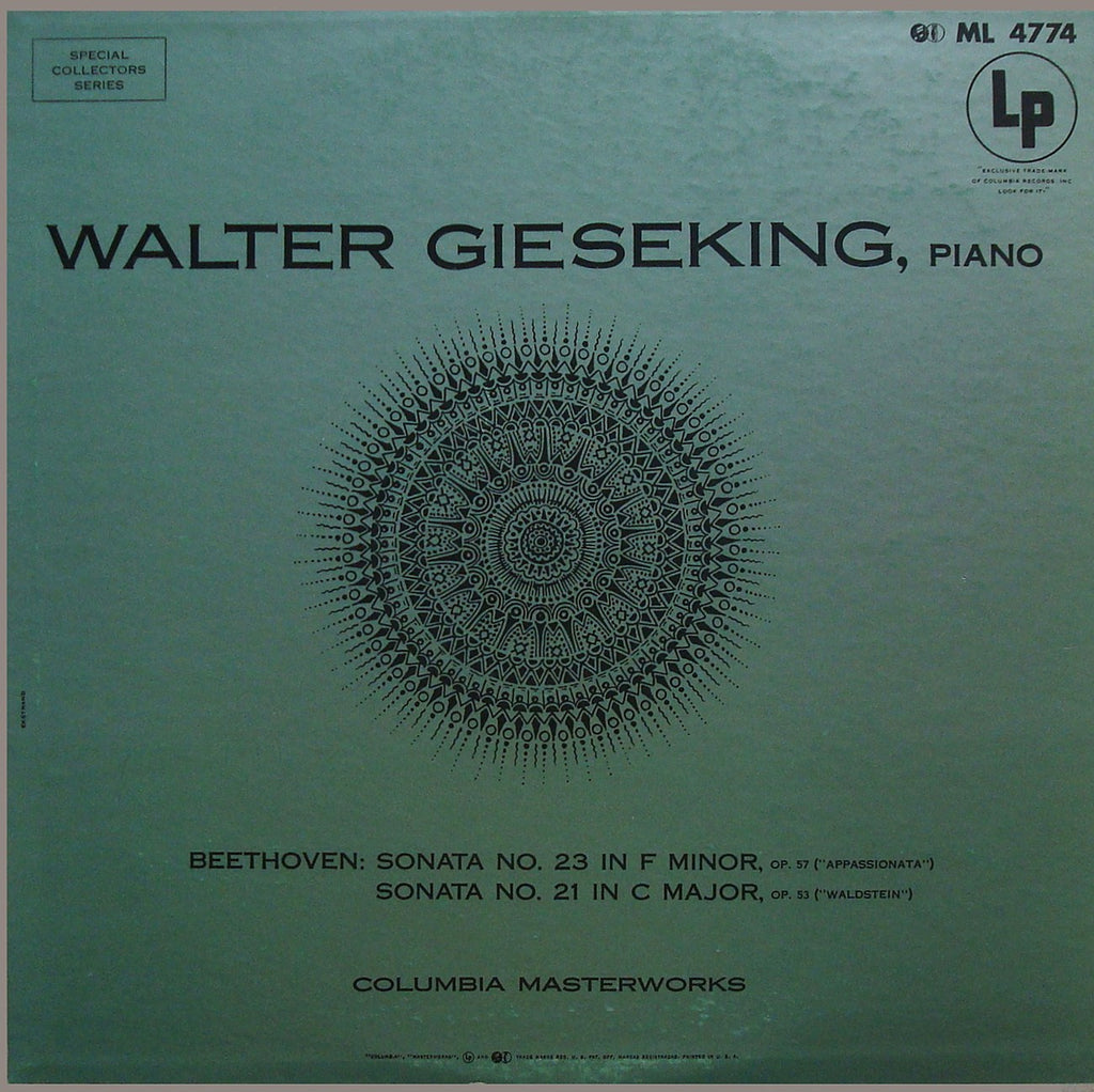 "LP - Gieseking: ""Appassionata"" & ""Waldstein"" Sonatas (rec. 1938/9) - Columbia ML 4774"