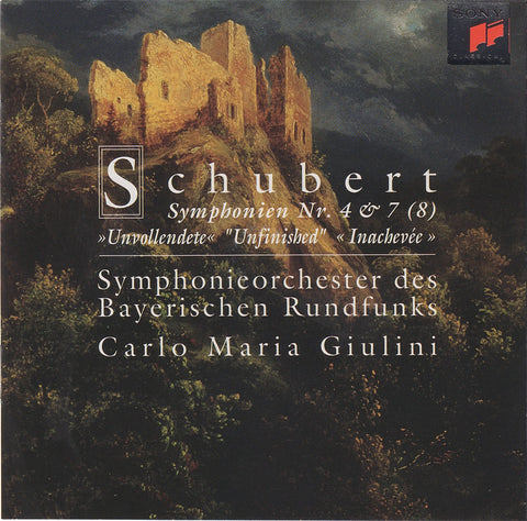 "CD - Giulini: Schubert Symphonies Nos. 4 & 8 ""Unfinished"" - Sony SK 66833 (DDD)"