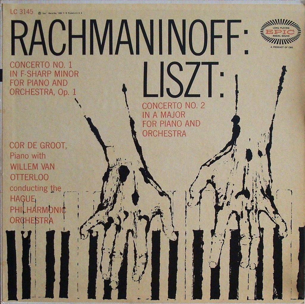 LP - Cor De Groot: Rachmaninov Piano Concerto No. 1 / Liszt No. 2 - Epic LC 3145