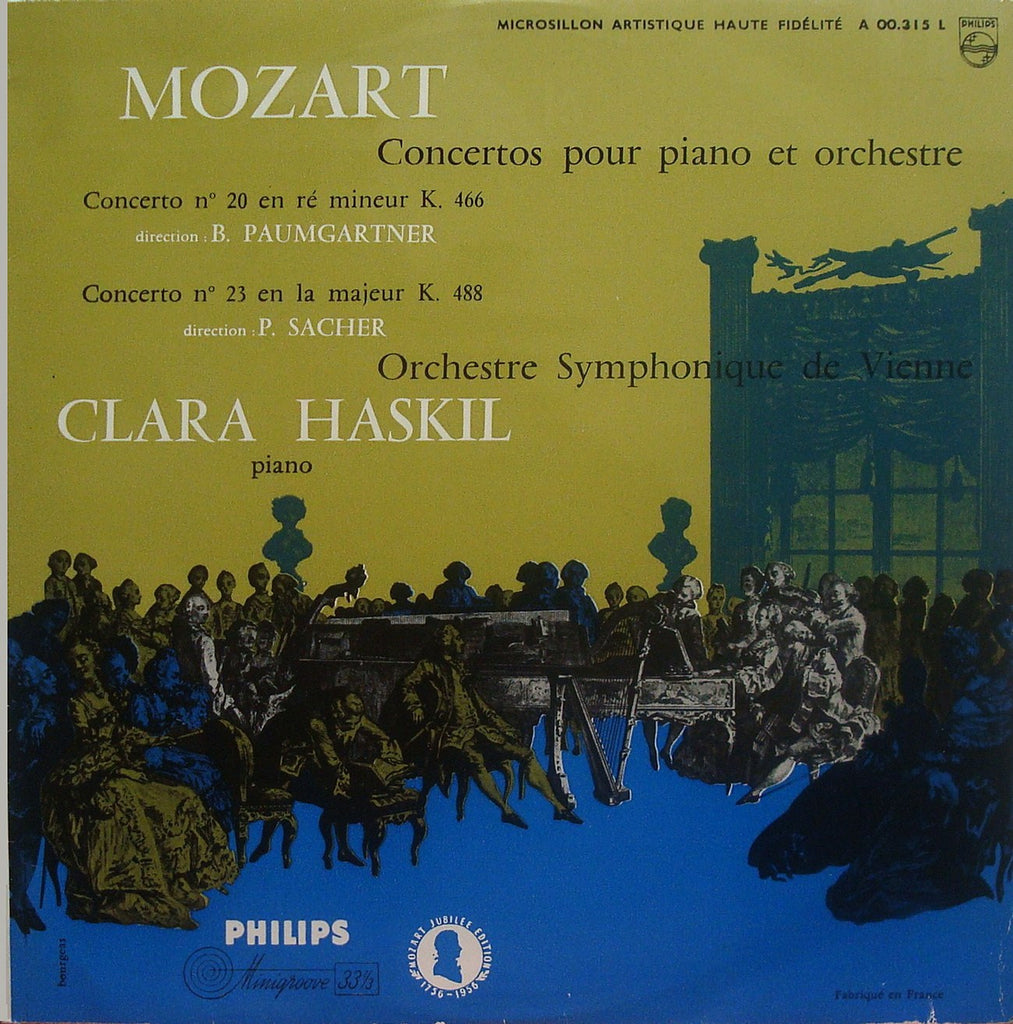 LP - Haskil: Mozart Piano Concertos K. 466 & K. 488 - French Philips A 00.315 L