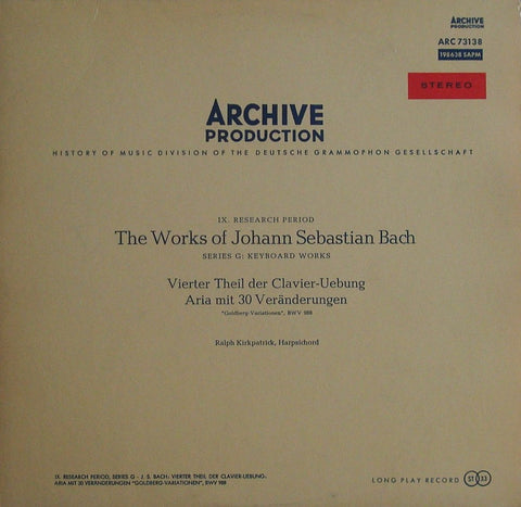"LP - Kirkpatrick: Bach Goldberg Variations - Archive 198 638 SAPM (""Red Stereo"")"