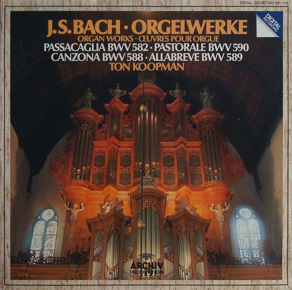 LP - Koopman: Bach Organ Works (Passacaglia BWV 852, Etc.) - Archive 413 162-1 (DDD)