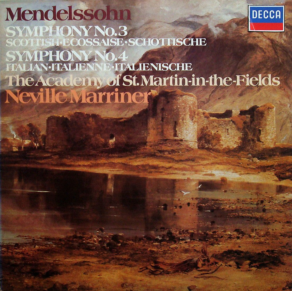 "LP - Marriner: Mendelssohn ""Scottish"" & ""Italian"" Syms - Decca / Argo ZRG 926"