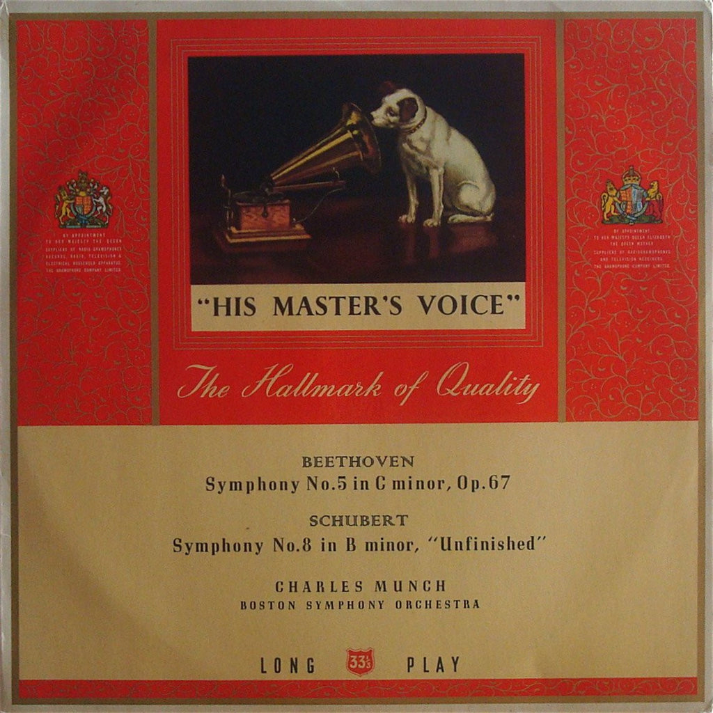 "LP - Munch: Beethoven Symphony No. 5 + Schubert ""Unfinished"" - HMV ALP 1415"