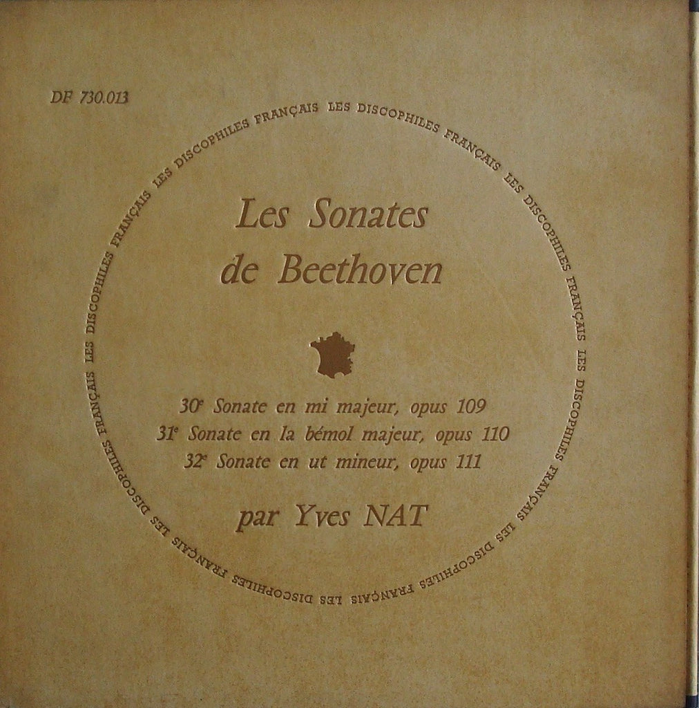 LP - Yves Nat: Beethoven Sonatas Opp. 109-111 - Discophiles Francais DF 730.013 (ds)