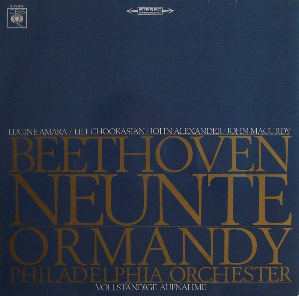 "LP - Ormandy: Beethoven Symphony No. 9 ""Choral"" (r. 1964) - German CBS S 72633"