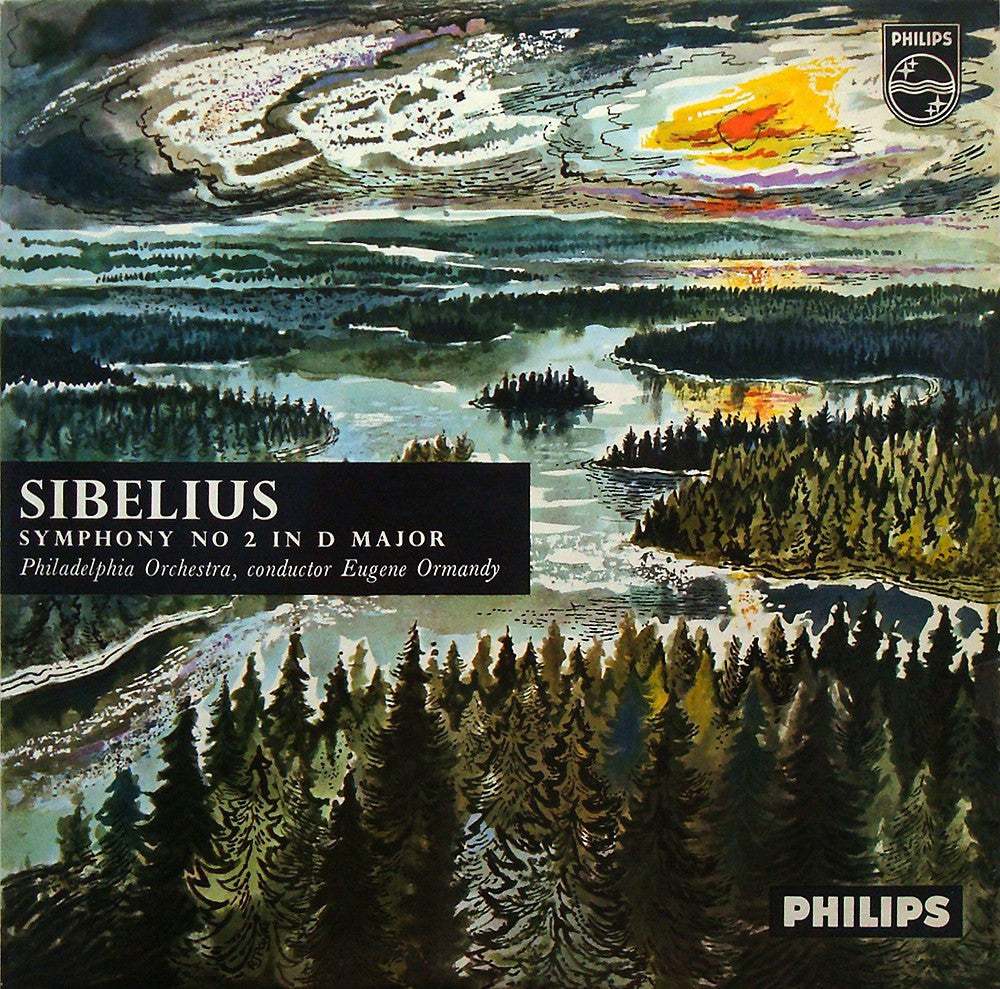 LP - Ormandy: Sibelius Symphony No. 2 (rec. 1957) - Philips ABL 3214, Fine Copy