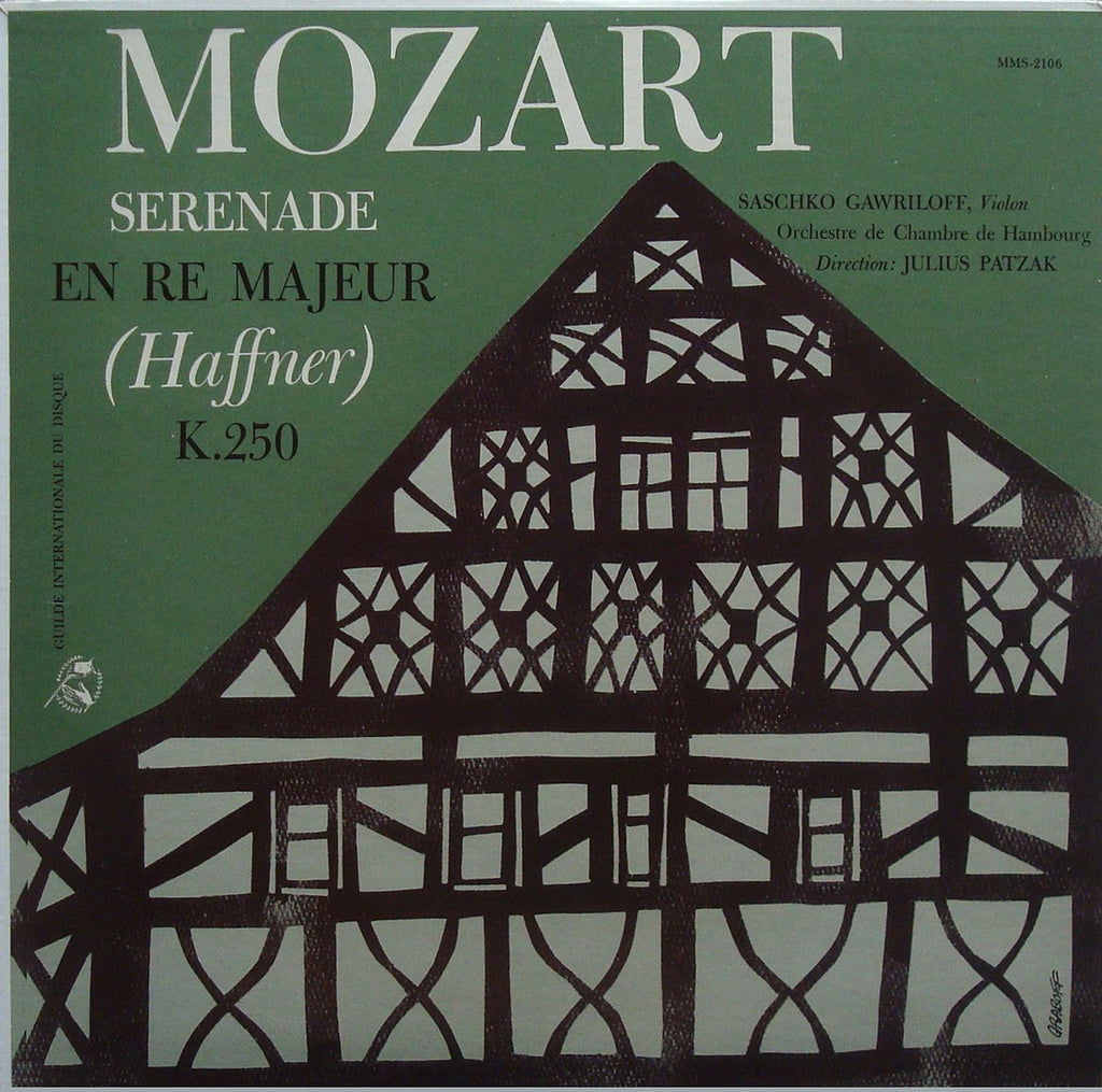 "LP - Patzak (conductor): Mozart Serenade No. 7 ""Haffner"" - Guilde Internationale Du Disque MMS-2106"