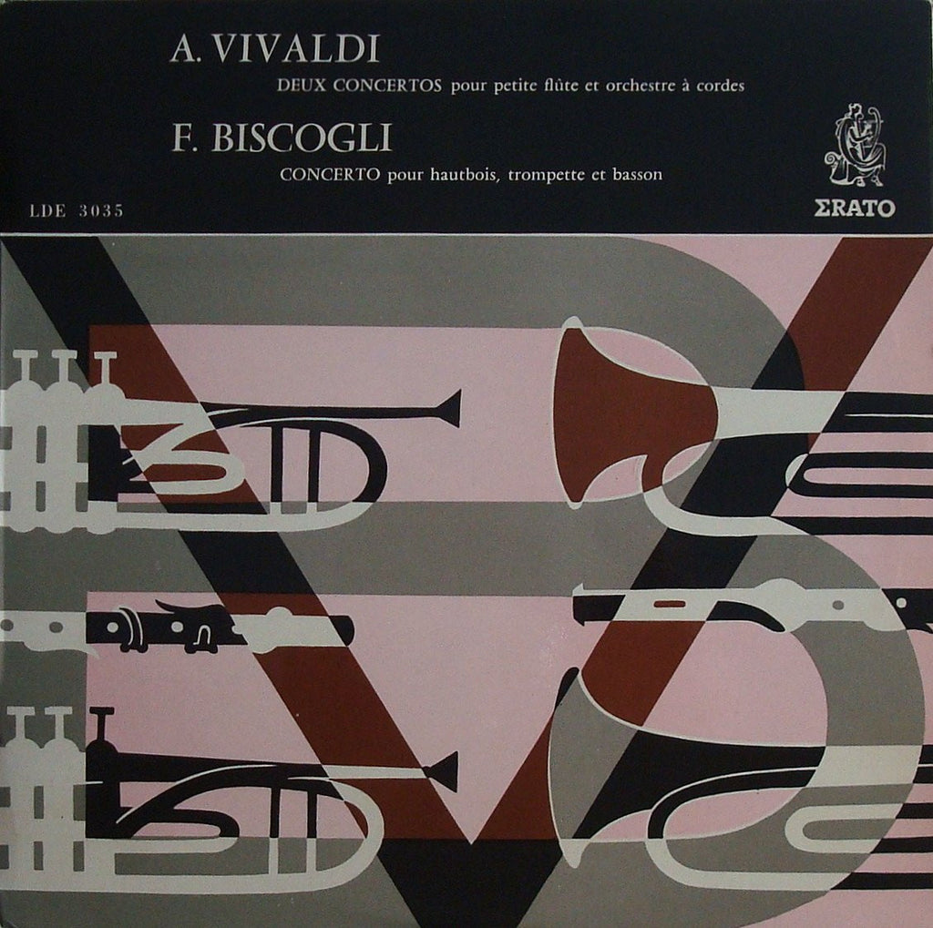 LP - Rampal: Vivaldi 2 Concerti For Piccolo + Biscogli (with Pierlot) - Erato LDE 3035
