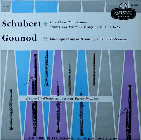 LP - Poulteau Wind Ensemble: Gounod Little Symphony + Schubert - London LL 1407