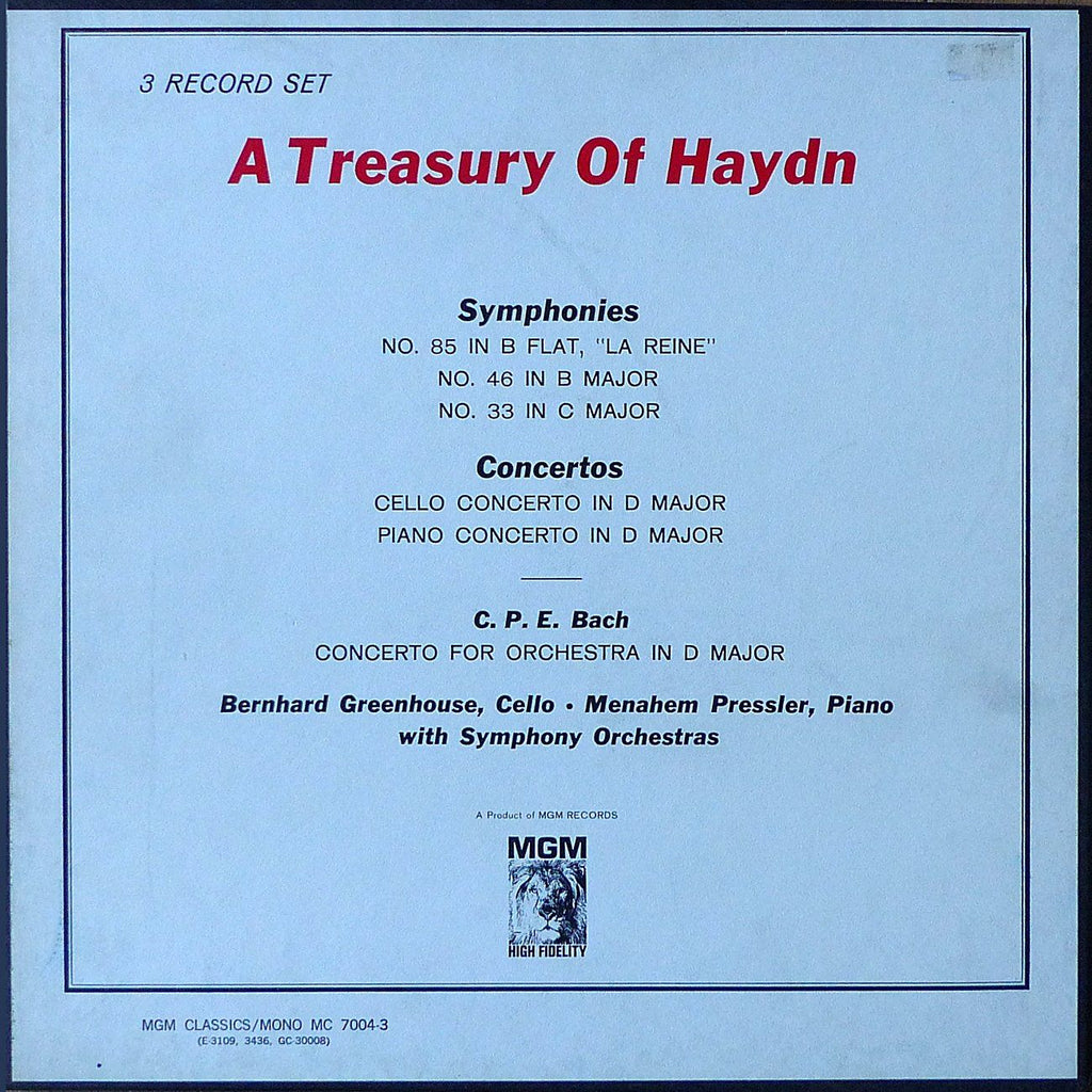 Solomon/Pressler/Greenhouse: Haydn - MGM MC 7004-3 (3LP box set)