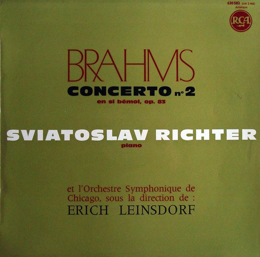 LP - Richter/Leinsdorf: Brahms Piano Concerto No. 2 - French RCA 630582 (red/silver)