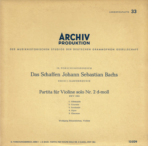 "Schneiderhan: Bach Partita for Solo Violin BWV 1004 - Archive 13029 (10"" LP)"