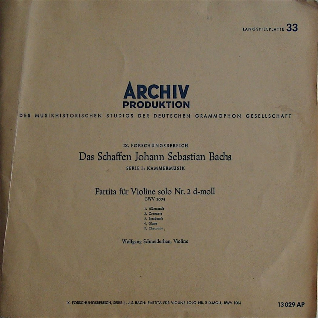 "LP - Schneiderhan: Bach Partita For Solo Violin No. 2 BWV 1004 - Archive AP 13029 (10"")"