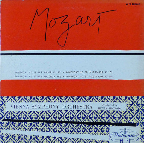 Swoboda: Mozart Syms 18, 22, 30 & 37 - Westminster WN 18046 (LP is sealed)