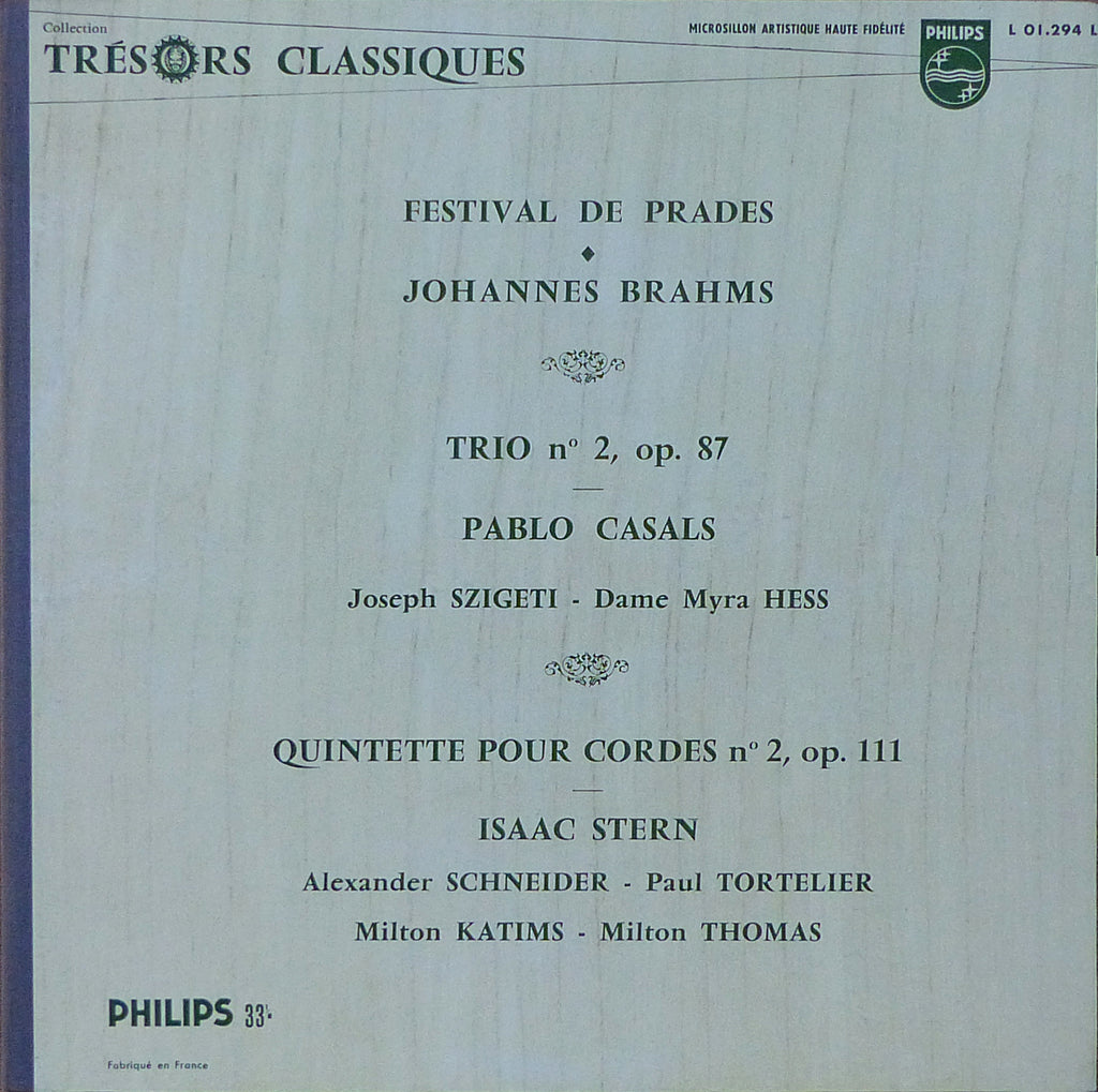 Szigeti/Casals/Hess: Brahms Piano Trio Op. 87, etc. - Philips L 01.294 L