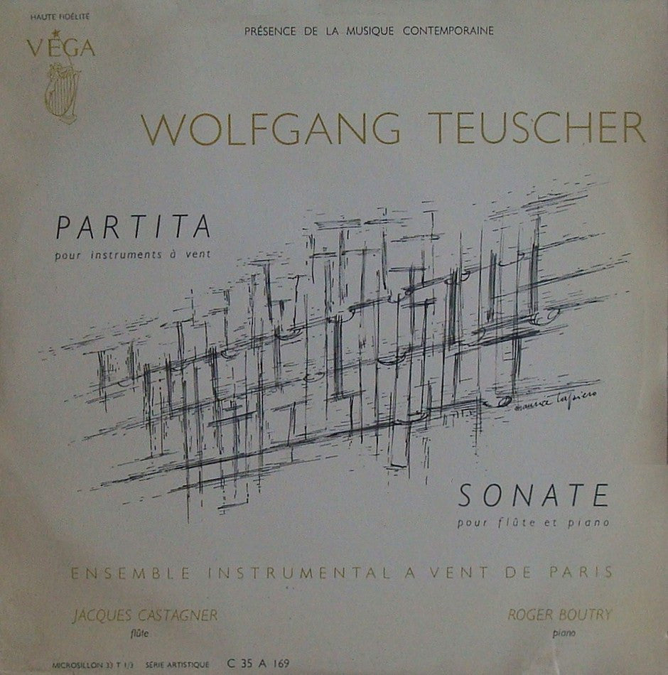 "LP - Paris Wind Ensemble: Teuscher Partita + Flute Sonata - Vega C 35 A 169 (10"" LP) - Rare"