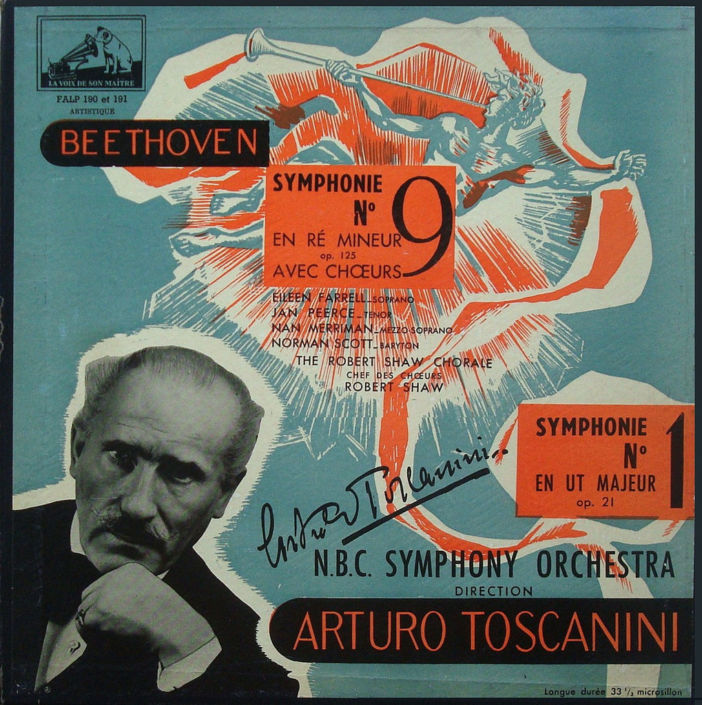 "LP - Toscanini/NBC SO: Beethoven Syms No. 9 ""Choral"" & 1 - FALP 190/191 (2LP Box Set)"