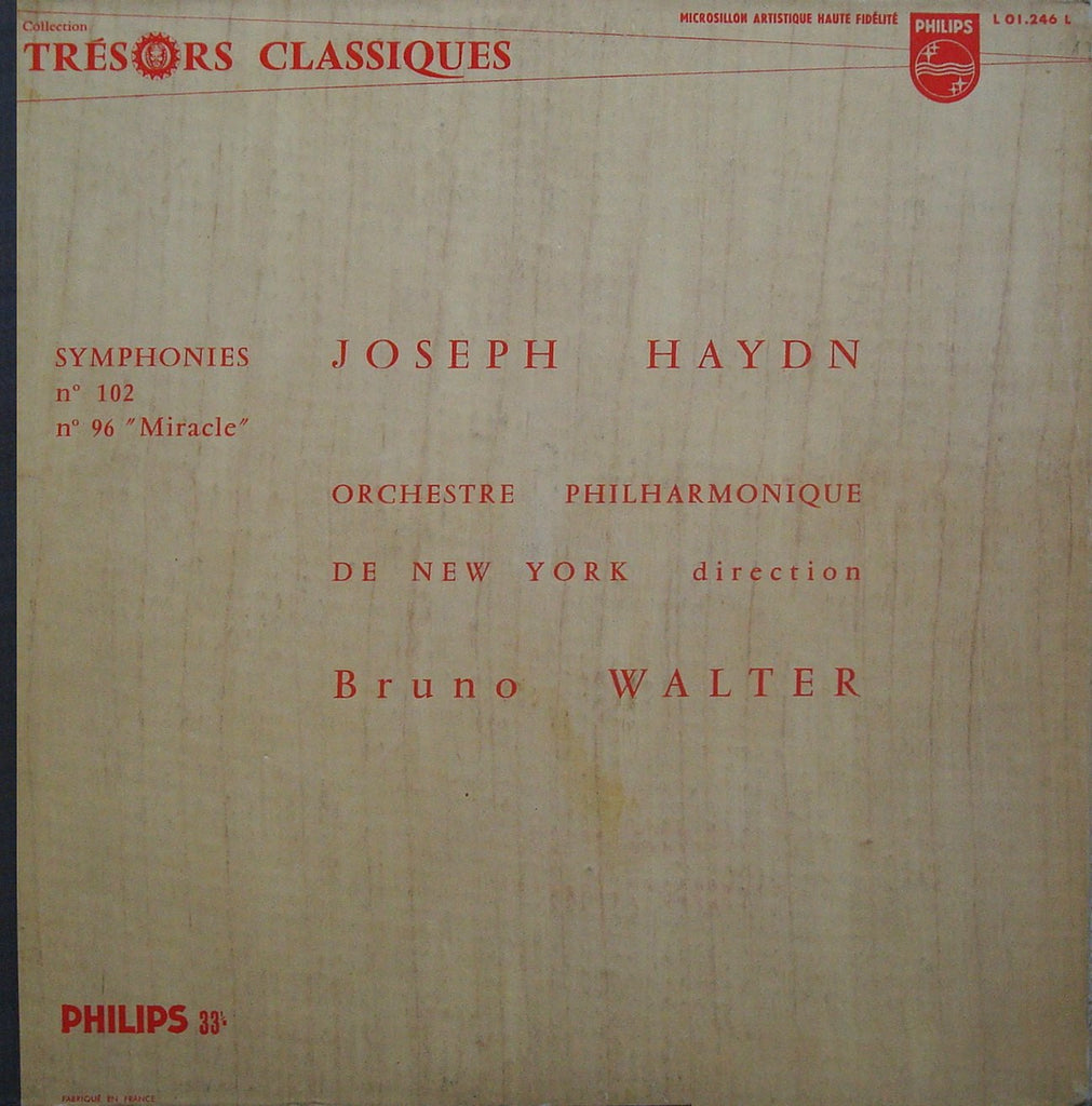 "LP - Walter/NYPO: Haydn Symphonies Nos. 102 & 96 ""Miracle"" - Philips L 01.246 L"
