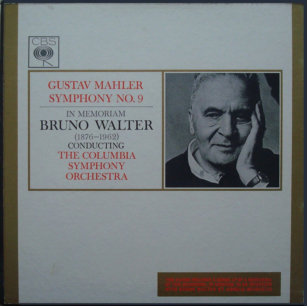 LP - Walter: Mahler Symphony No. 9 (+ Rehearsal/interview) - CBS BRG.72068/9 (3LP Set)