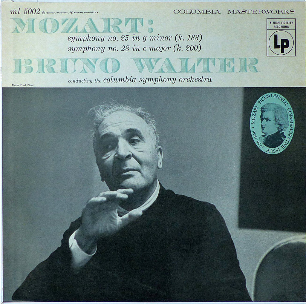 Walter: Mozart Symphonies Nos. 25 & 28 - Columbia ML 5002 (LP is sealed)