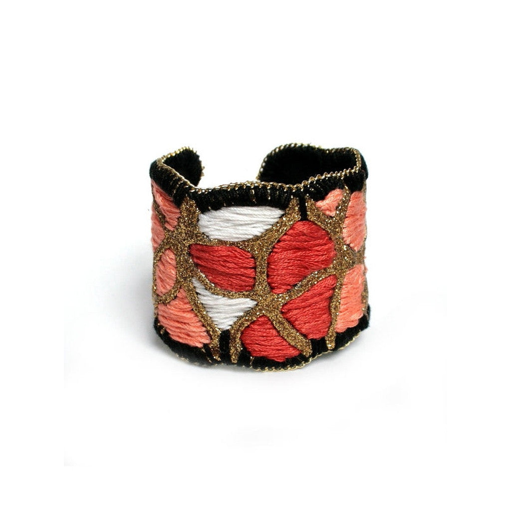 Red Roses Cuff Bracelet (gold color) - House of Ke'Chic  - 1