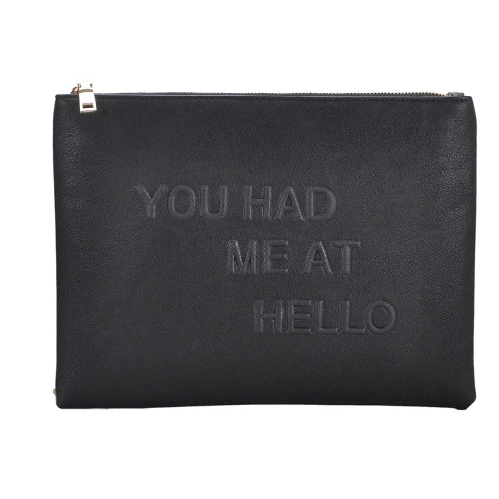 Mechaly Women's Slogan Hello Black Vegan Leather Crossbody - House of Ke'Chic
