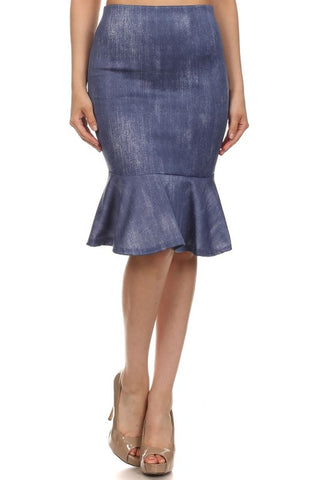 Faux Denim Peplum Skirt